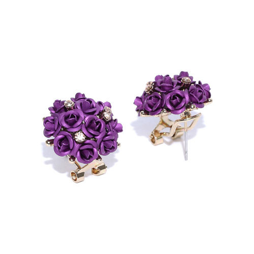 YouBella Purple Gold-Plated Floral Studs