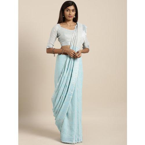 Kvsfab Women Blue & Silver-Coloured Woven Design Linen Blend Saree