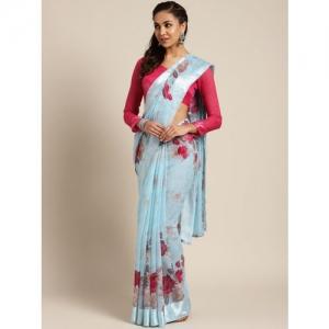 Saree mall Blue & Red Printed Saree
