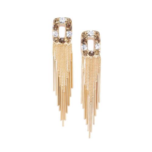 Jewels Galaxy Brown Gold-Plated Stone-Studded Geometric Tasselled Drop Earrings