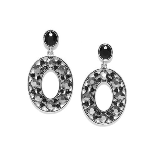 Jewels Galaxy Black & Silver-Toned Copper-Plated Stone-Studded Oval Drop Earrings