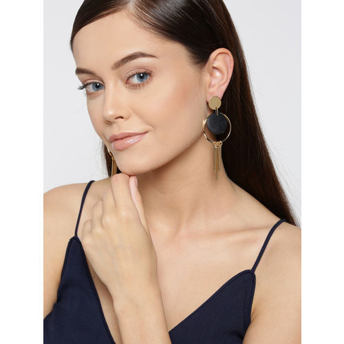 Jewels Galaxy Black Gold-Plated Circular Tasselled Drop Earrings