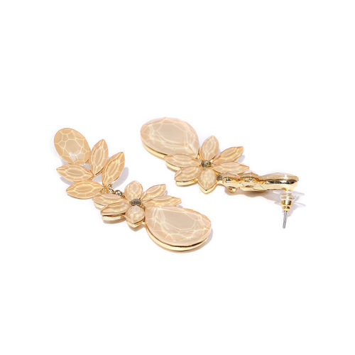 Jewels Galaxy Beige Gold-Plated Stone-Studded Floral Drop Earrings