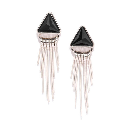 Jewels Galaxy Black & Silver-Toned Copper-Plated Stone-Studded Triangular Drop Earrings