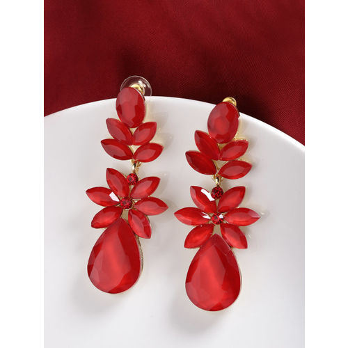 Jewels Galaxy Red Gold-Plated Stone-Studded Teardrop-Shaped Drop Earrings