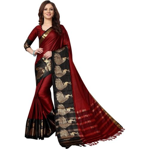 HashTag Fashion Solid, Applique, Animal Print, Embellished, Temple Border, Self Design, Checkered, Polka Print Paithani Cotton, Art Silk Saree(Red)