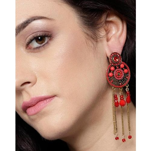 Jewels Galaxy Red Gold-Plated Handcrafted Circular Drop Earrings