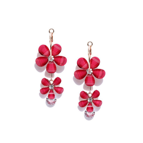 Jewels Galaxy Red Gold-Plated Handcrafted Floral Drop Earrings