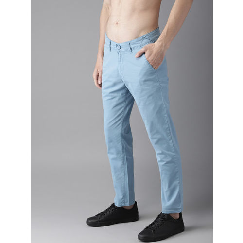 HERE&NOW Men Blue Regular Fit Solid Chinos