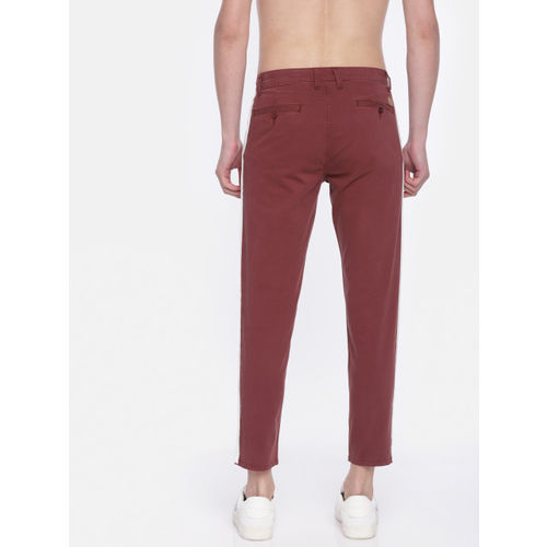 HERE&NOW Men Maroon Regular Fit Solid Chinos