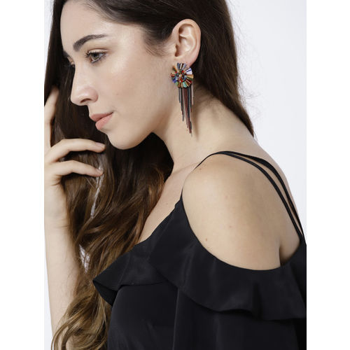 Jewels Galaxy Gold-Plated Multicoloured Handcrafted Drop Earrings