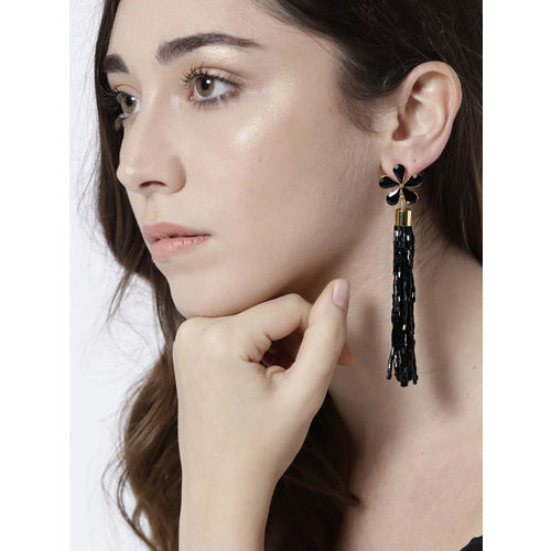 Jewels Galaxy Black Gold-Plated Handcrafted Contemporary Drop Earrings