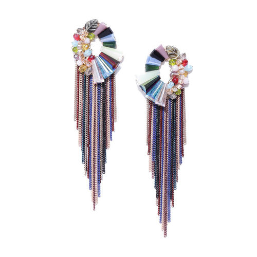Jewels Galaxy Multicoloured Gold-Plated Handcrafted Tasselled Contemporary Drop Earrings