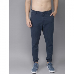 HERE&NOW Men Navy Blue Regular Fit Solid Joggers