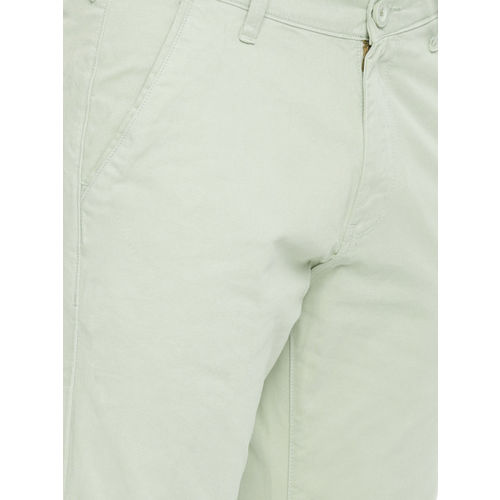 HERE&NOW Men Olive Green Slim Fit Solid Chinos