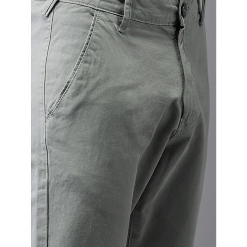 HERE&NOW Men Grey Slim Fit Solid Cropped Chinos