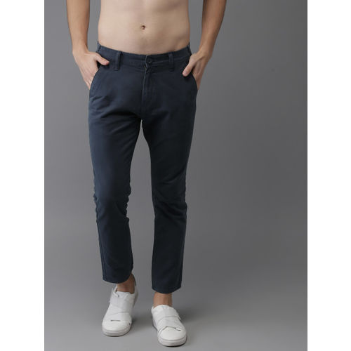 HERE&NOW Men Navy Blue Slim Fit Solid Cropped Chinos