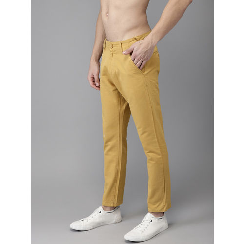 HERE&NOW Men Mustard Yellow Slim Fit Solid Cropped Chinos
