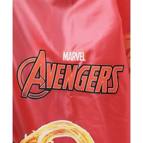 Babyhug Full Sleeves Hooded Raincoat With Pouch Avengers Print - Red