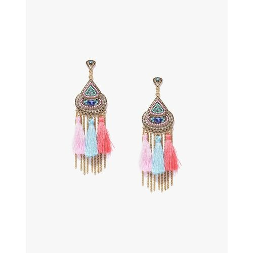 Jewels Galaxy Pink & Blue Antique Gold-Plated Handcrafted Tasselled Drop Earrings