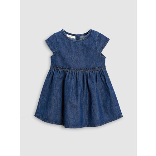 next Girls Navy Blue Solid Denim Fit and Flare Dress