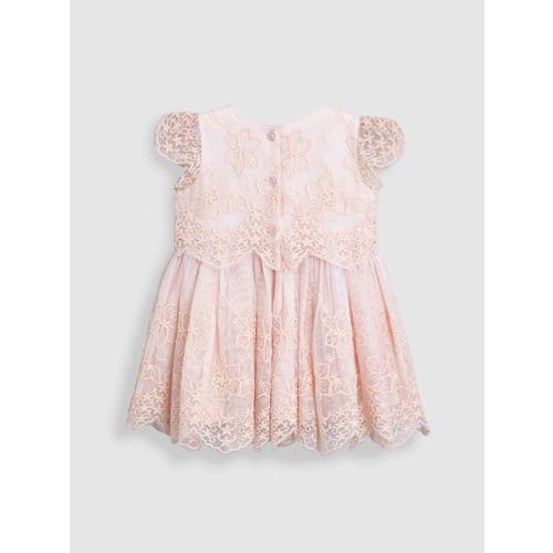 next Girls Peach-Coloured Self Design Fit and Flare Dress