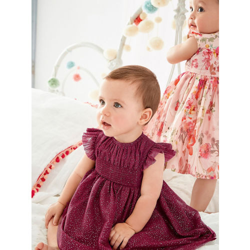 next Girls Burgundy Self Design Fit and Flare Dress