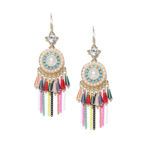 Jewels Galaxy Multicoloured Gold-Plated Handcrafted CZ Stone-Studded Drop Earrings