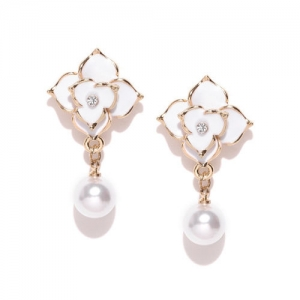 Jewels Galaxy Off-White Gold-Plated Handcrafted Stone-Studded Beaded Drop Earrings