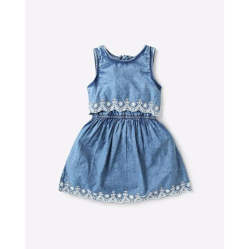 UNITED COLORS OF BENETTON Layered A-line Denim Dress with Contrast Embroidery