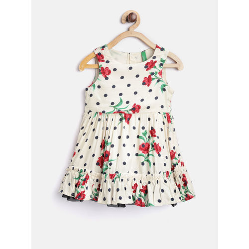 United Colors of Benetton Girls Off-White Printed Fit & Flare Dress