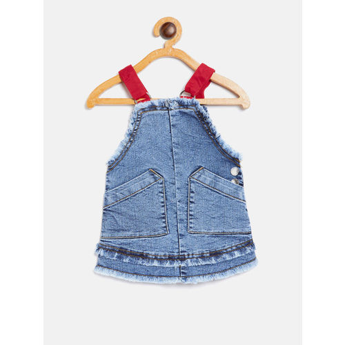 United Colors of Benetton Girls Blue Solid Pinafore Dress
