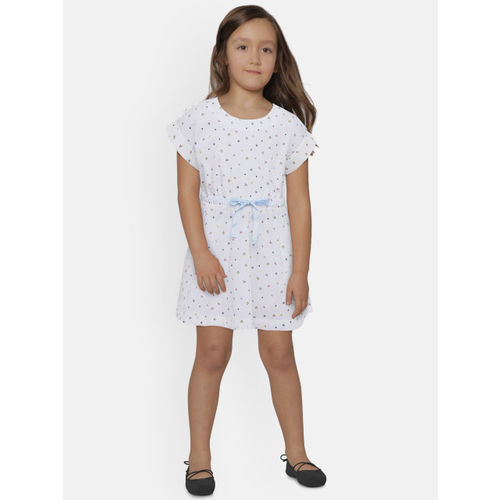 United Colors of Benetton Girls White Printed Fit & Flare Dress
