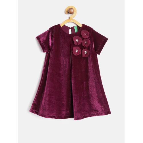 United Colors of Benetton Girls Purple Velvet Finish Solid A-Line Dress