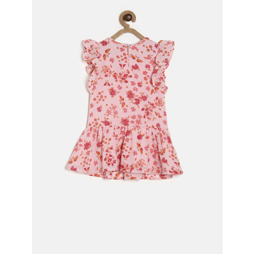 United Colors of Benetton Girls Pink Printed A-Line Dress