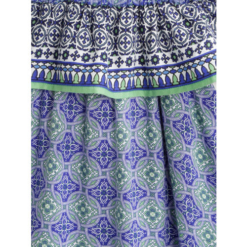 United Colors of Benetton Girls Blue & Green Printed Off-Shoulder A-Line Dress