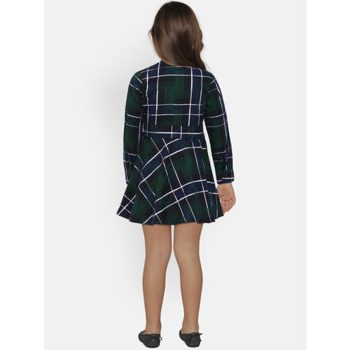 United Colors of Benetton Girls Green & Navy Blue Checked Shirt Dress