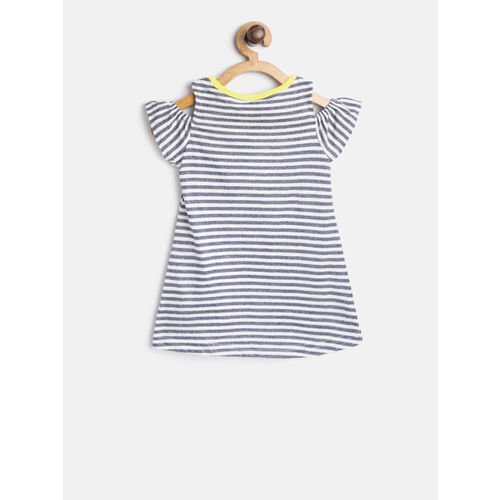 United Colors of Benetton Girls Navy Blue & White Striped A-Line Dress