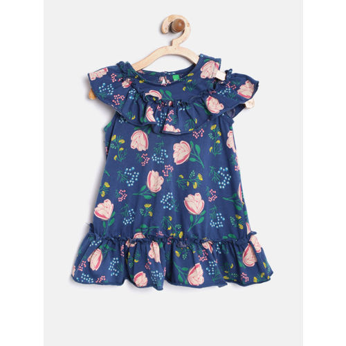 United Colors of Benetton Girls Blue Printed A-Line Dress
