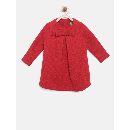 United Colors of Benetton Girls Red Self Design A-Line Dress