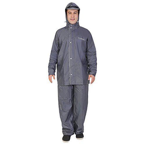 ZEEL Men's Reversible Grey & Silver PVC Raincoat
