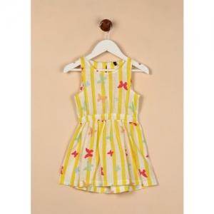 United Colors of Benetton Girls Midi/Knee Length Casual Dress(Multicolor, Sleeveless)