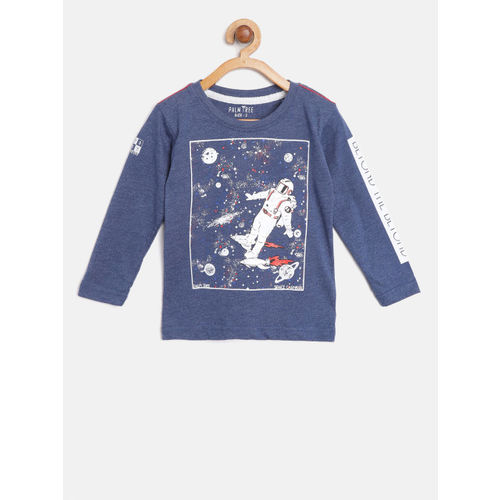 Palm Tree Boys Navy Blue Printed Round Neck T-shirt