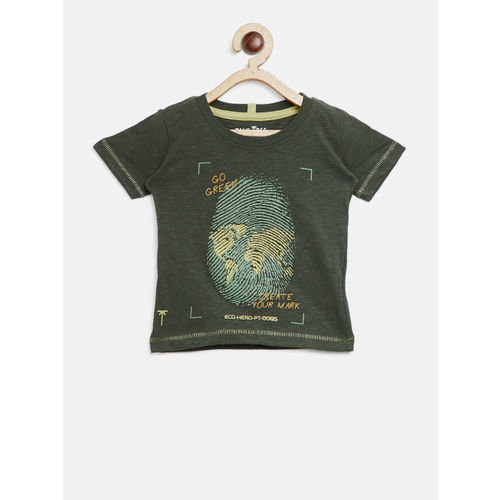 Palm Tree Boys Olive Green Printed Round Neck T-shirt