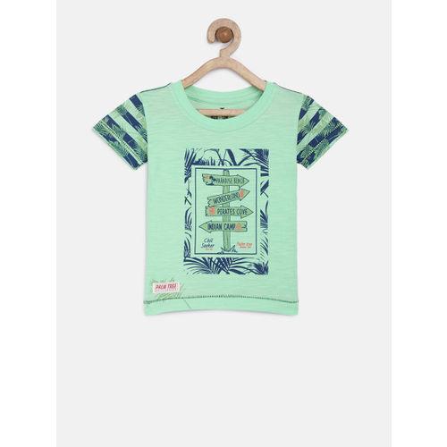 Palm Tree Boys Green Printed Round Neck T-shirt