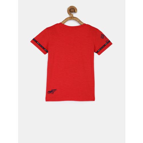 Palm Tree Boys Red Printed Round Neck T-shirt