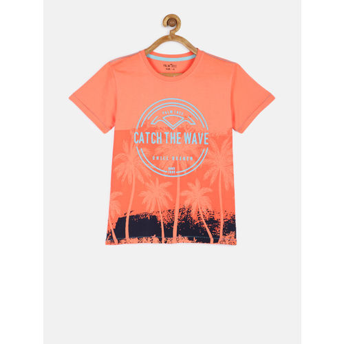 Palm Tree Boys Orange Printed Round Neck T-shirt