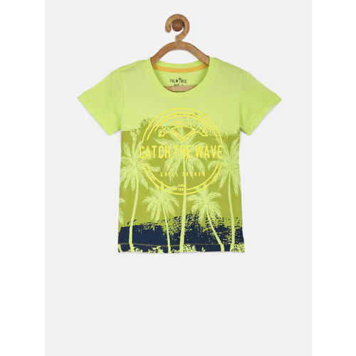 Palm Tree Boys Green Printed T-shirt