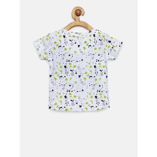 Palm Tree Boys White & Lime Green Printed Round Neck T-shirt