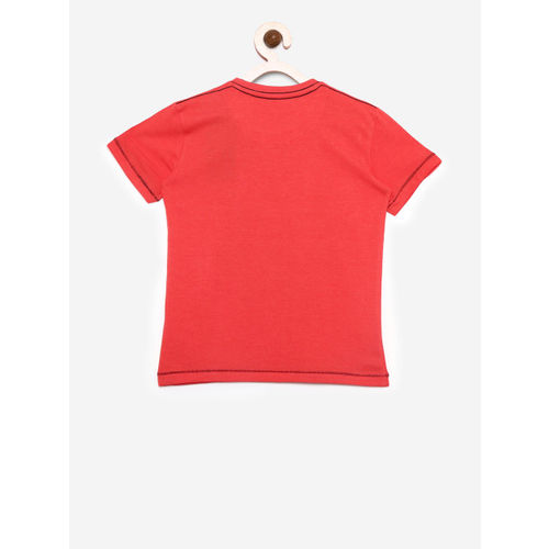 Palm Tree Boys Coral Red Printed Round Neck T-shirt